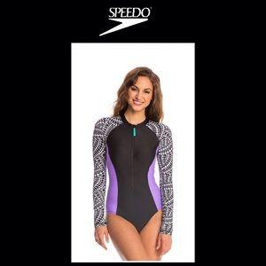 NWT Speedo Geometric print Long Sleeve Swimsuit